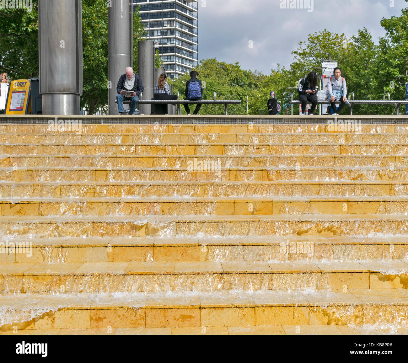 BRISTOL ENGLAND CITY CENTRE WESTERN DOCK HOTWELLS HARBOURSIDE STEPS WITH RUNNING WATER - Stock Image