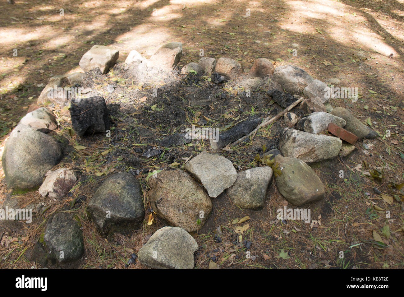 Abandoned Fire pit, Camping site - Stock Image
