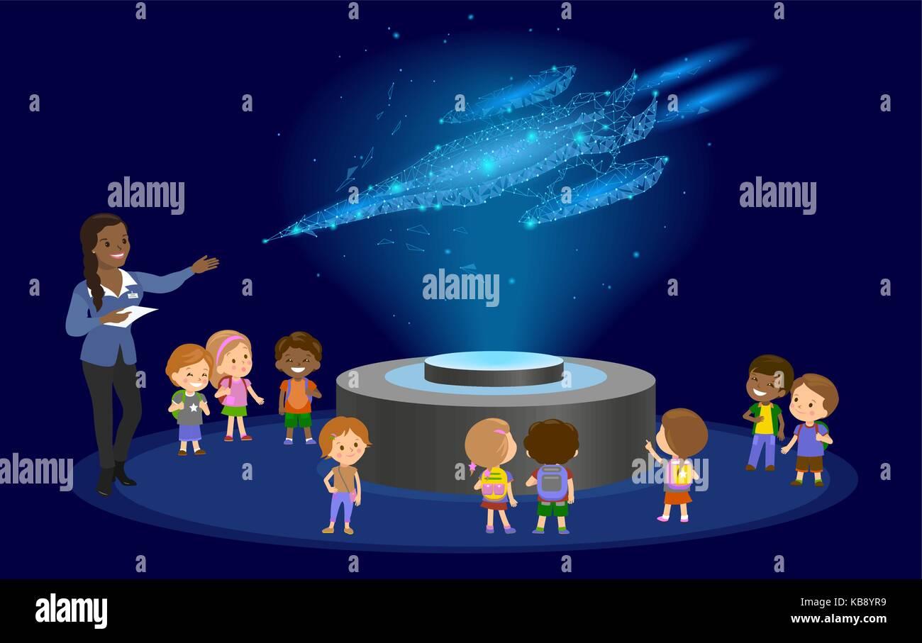 Innovation education elementary school african brown skin black hair group of kids planetarium science spaceship Stock Vector