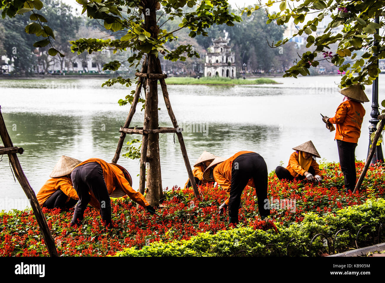 Women tending flowers in front of Thap Rua temple or Turtle Tower, Hoan Kiem lake, Hanoi, Vietnam - Stock Image