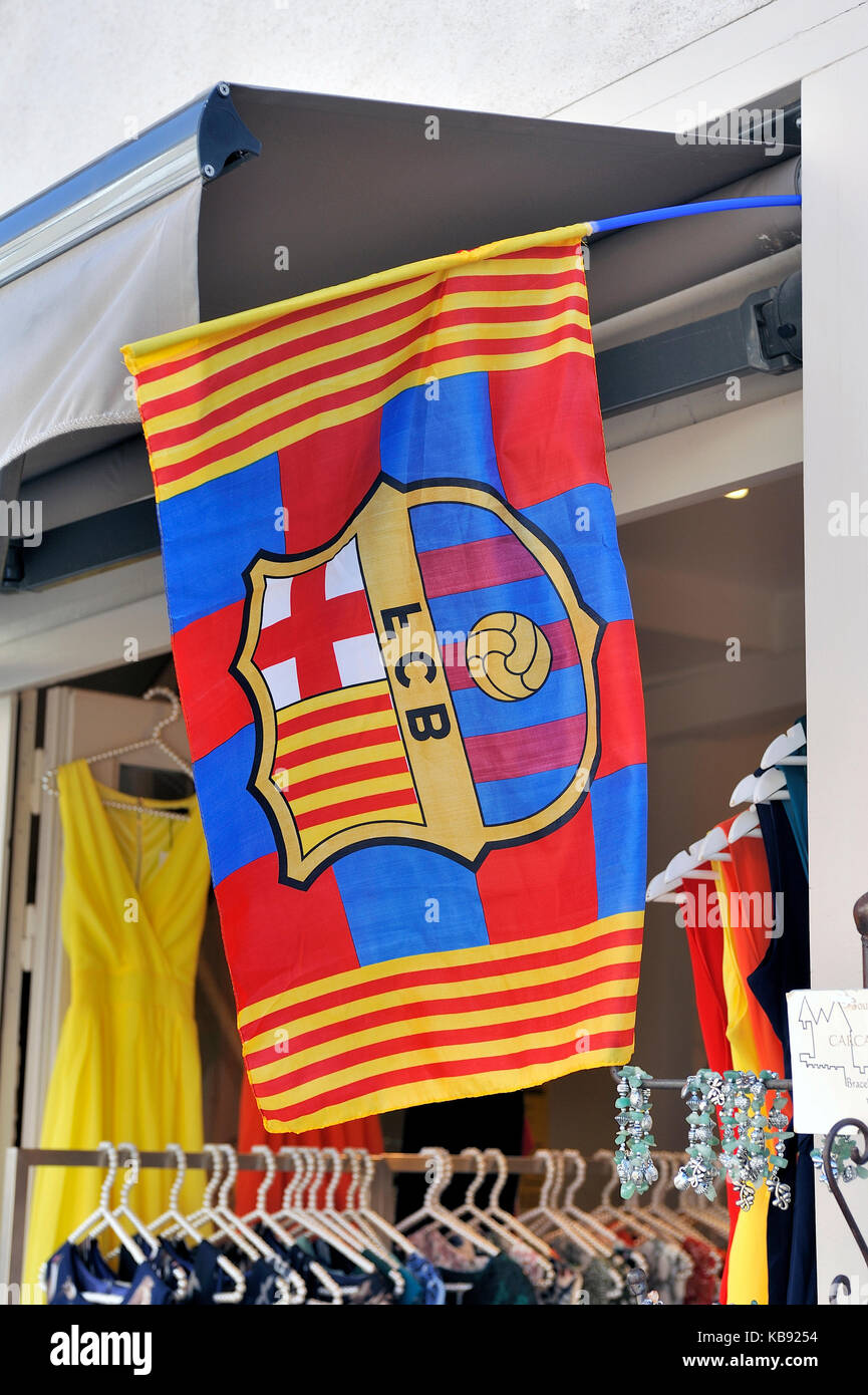 flag of fcb barcelona in a souvenir shop of the fortified city of Carcassonne - Stock Image