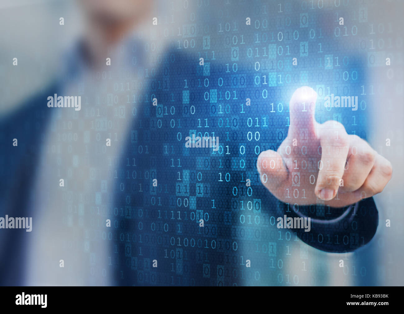 Big data statistics and business analytics concept with flow or stream of binary code information on virtual screen - Stock Image
