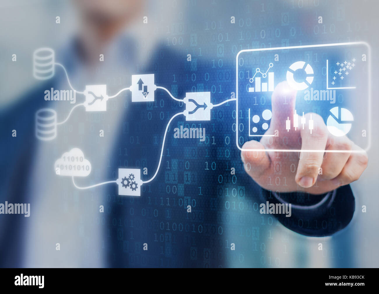 Data Management System (DMS) and Business Analytics concept with servers connected to dashboard to provide information - Stock Image
