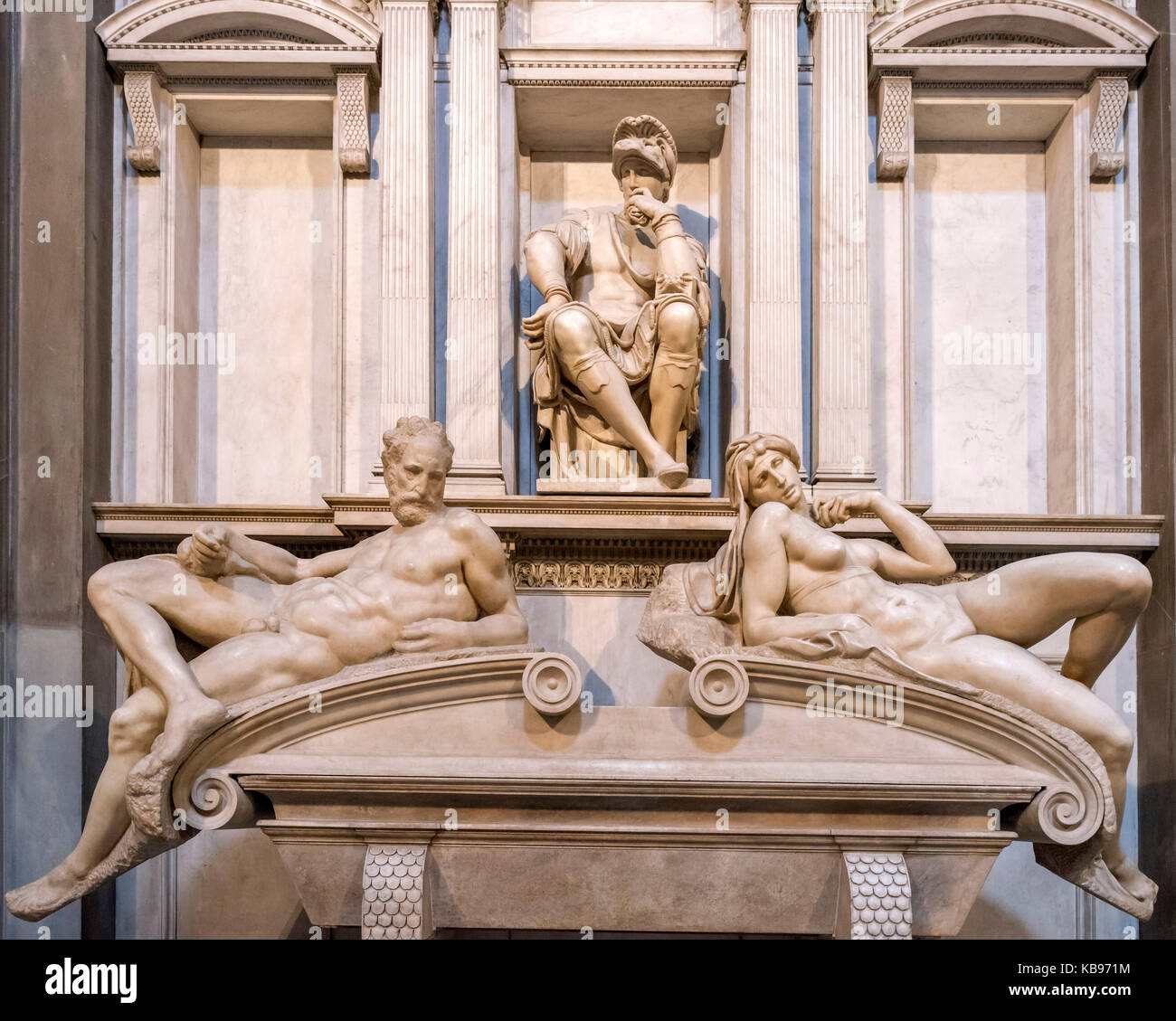 The tomb of Lorenzo, Duke of Urbino by Michelangelo, Cappelle Medicee, Church of San Lorenzo, Florence, Italy. - Stock Image
