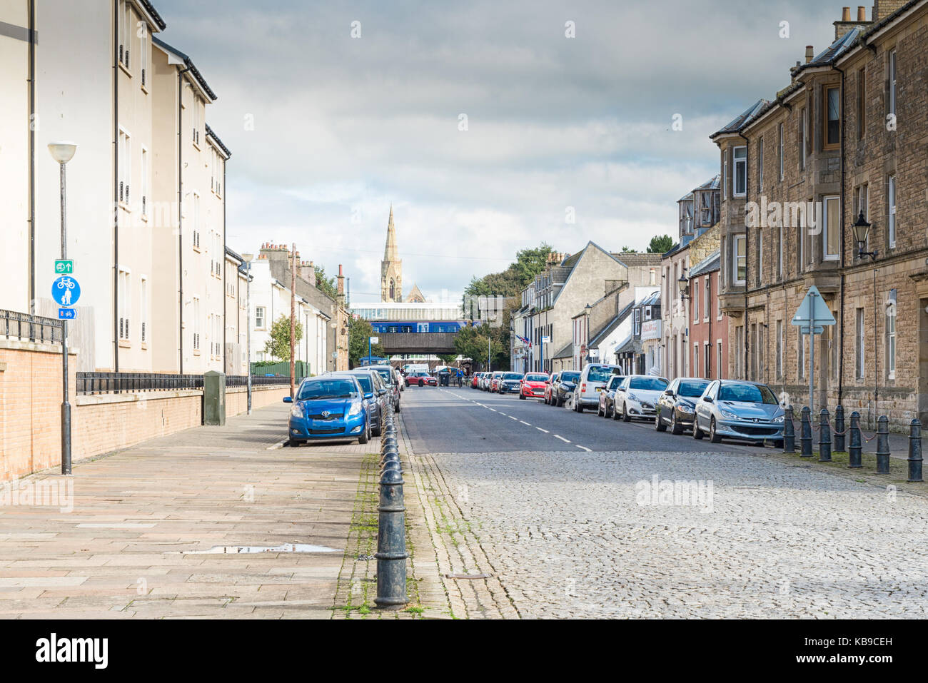 Harbour Street, UK - September 28, 2017: New and regenerated harbour Street Irvine in Scotland with its bright maratime - Stock Image