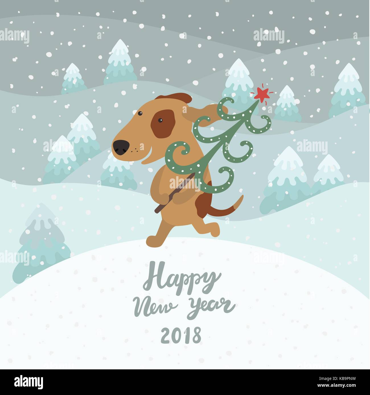 Cute Dog Carries Christmas Tree Happy New Year 2018 Stock Vector