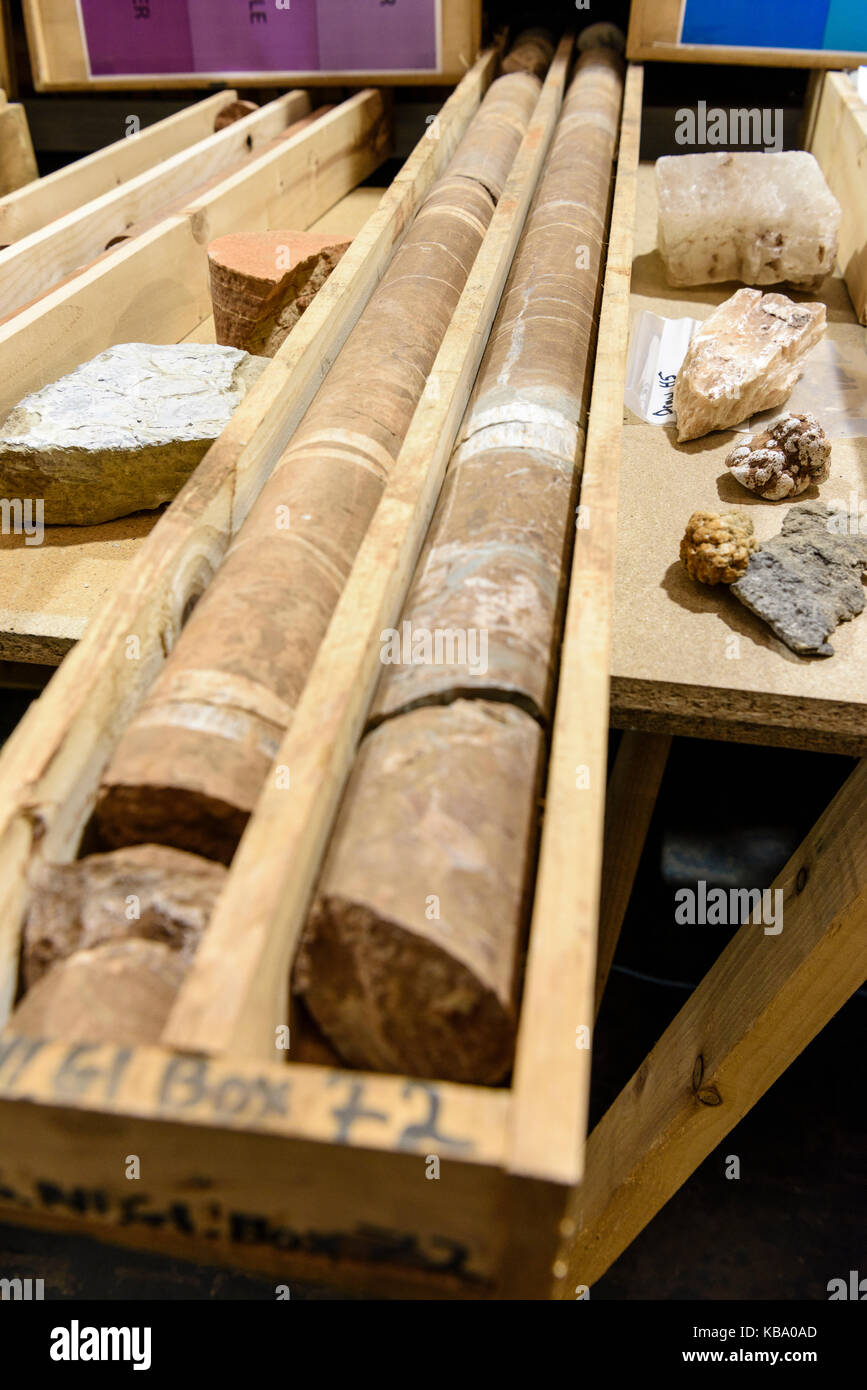 Rock core samples at the Geological Survey of Northern Ireland. - Stock Image