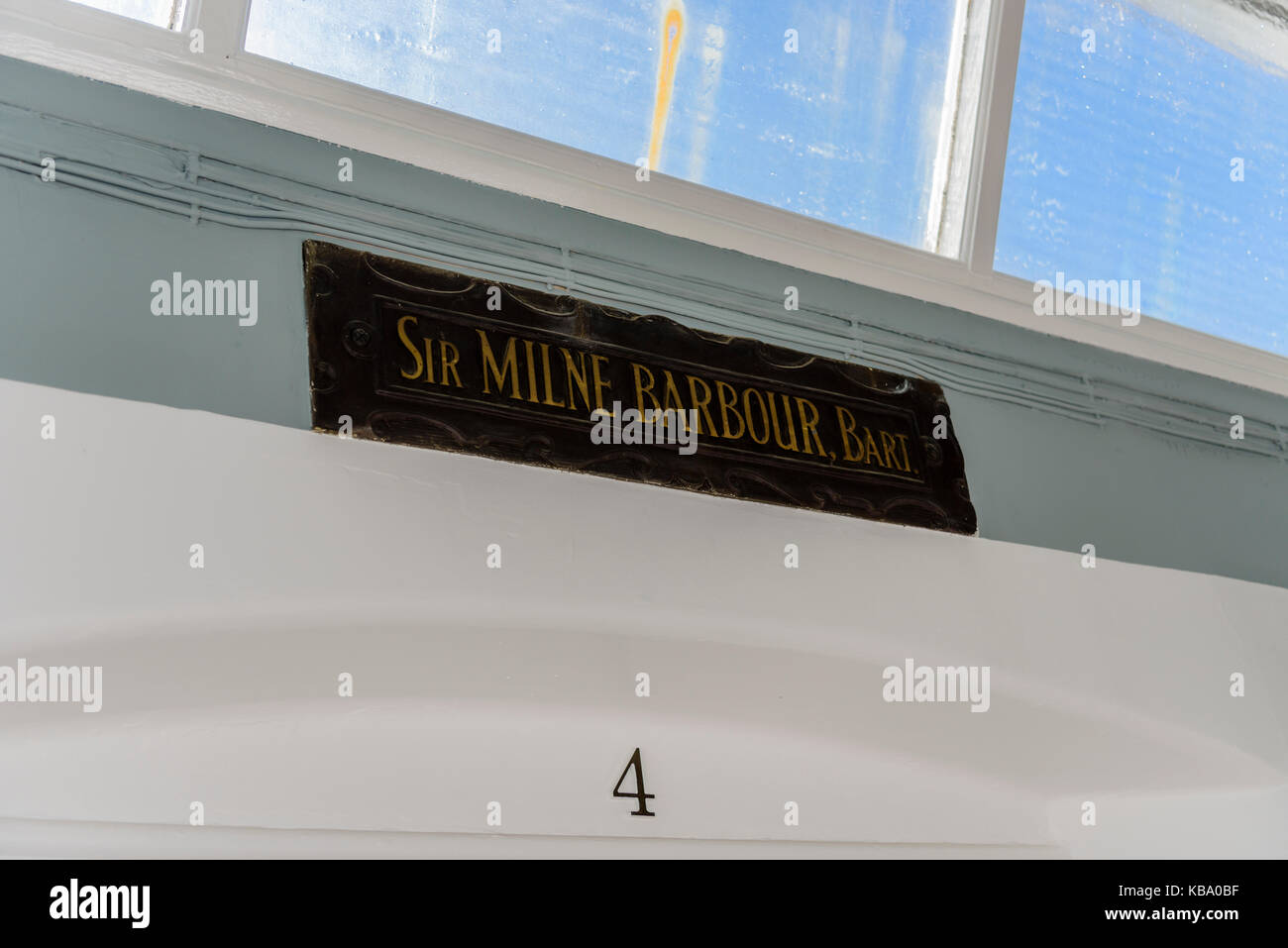 Ward 4 (Sir Milne Barbour, Bart) at the oldVictorian corridor, Royal Victoria Hospital, Belfast. - Stock Image