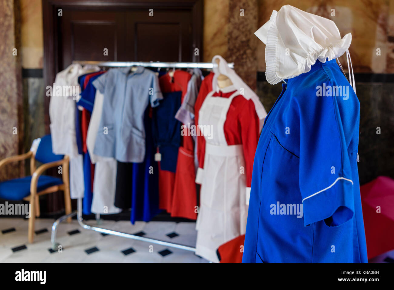 Old fashioned nursing uniforms, ranging from the Victorian era at the Royal Victoria Hospital, Belfast. - Stock Image