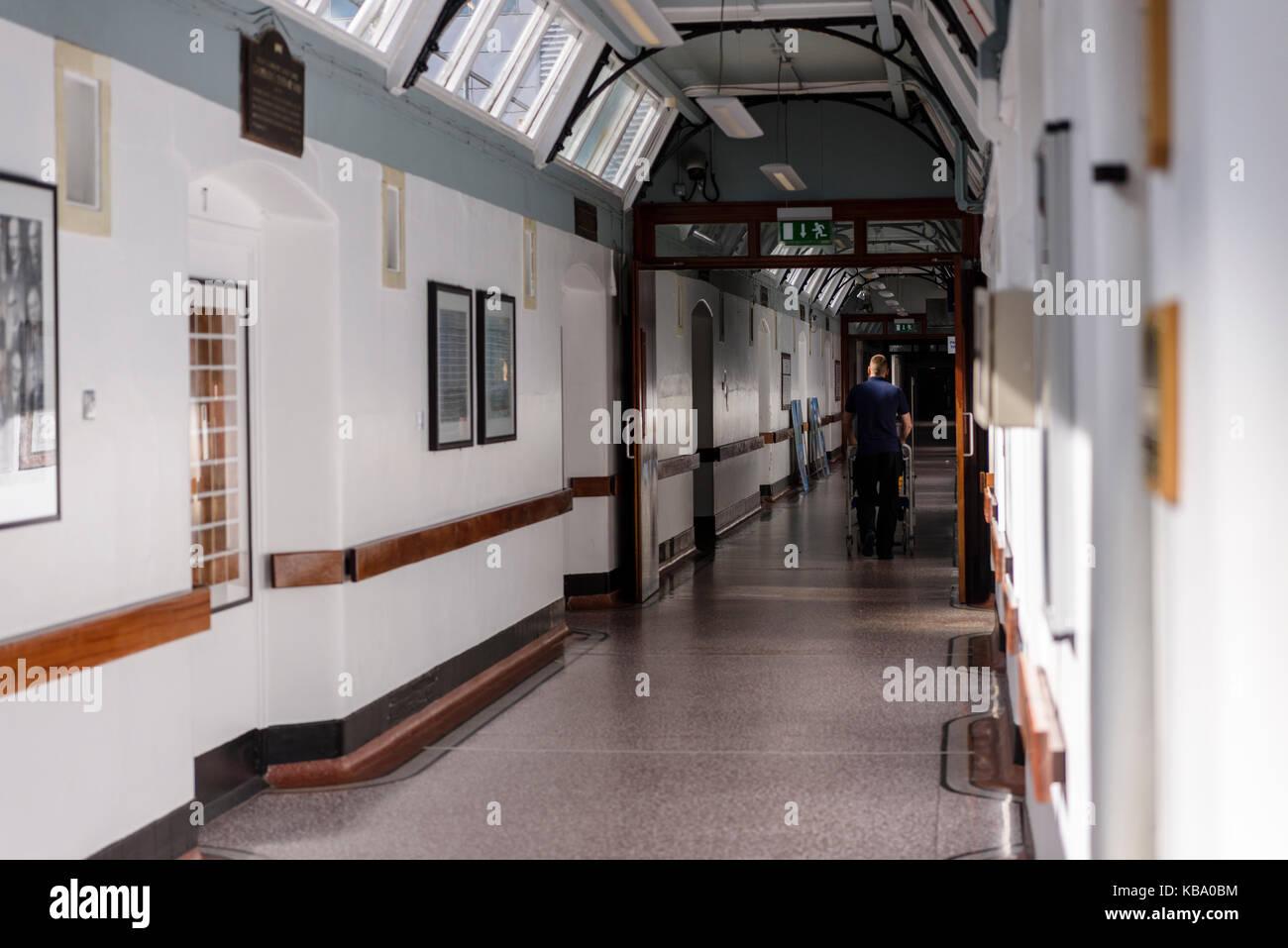Victorian corridor at the Royal Victoria Hospital, Belfast. - Stock Image