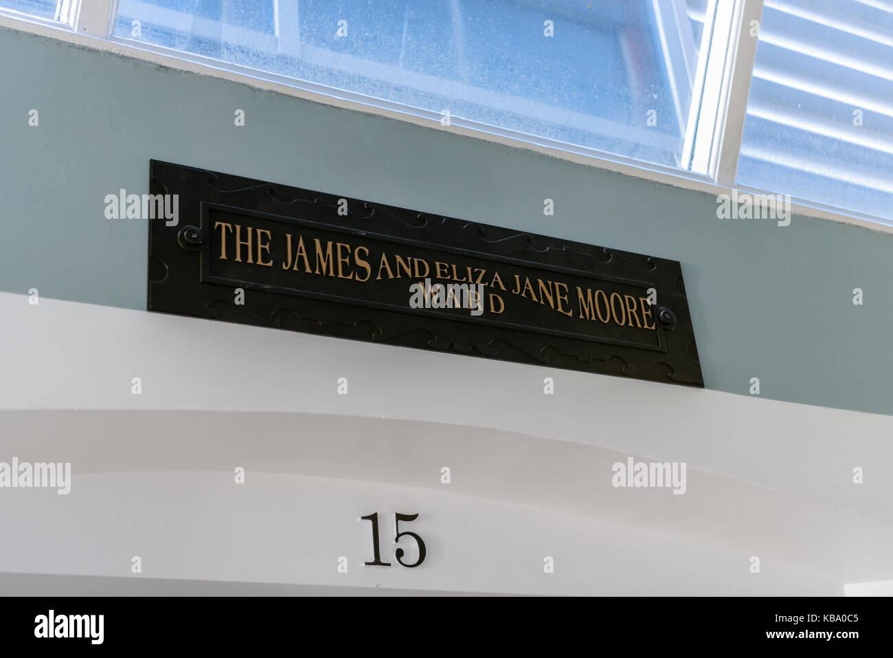 Ward 15 (The James and Eliza Jane Moor Ward) at the oldVictorian corridor, Royal Victoria Hospital, Belfast. - Stock Image