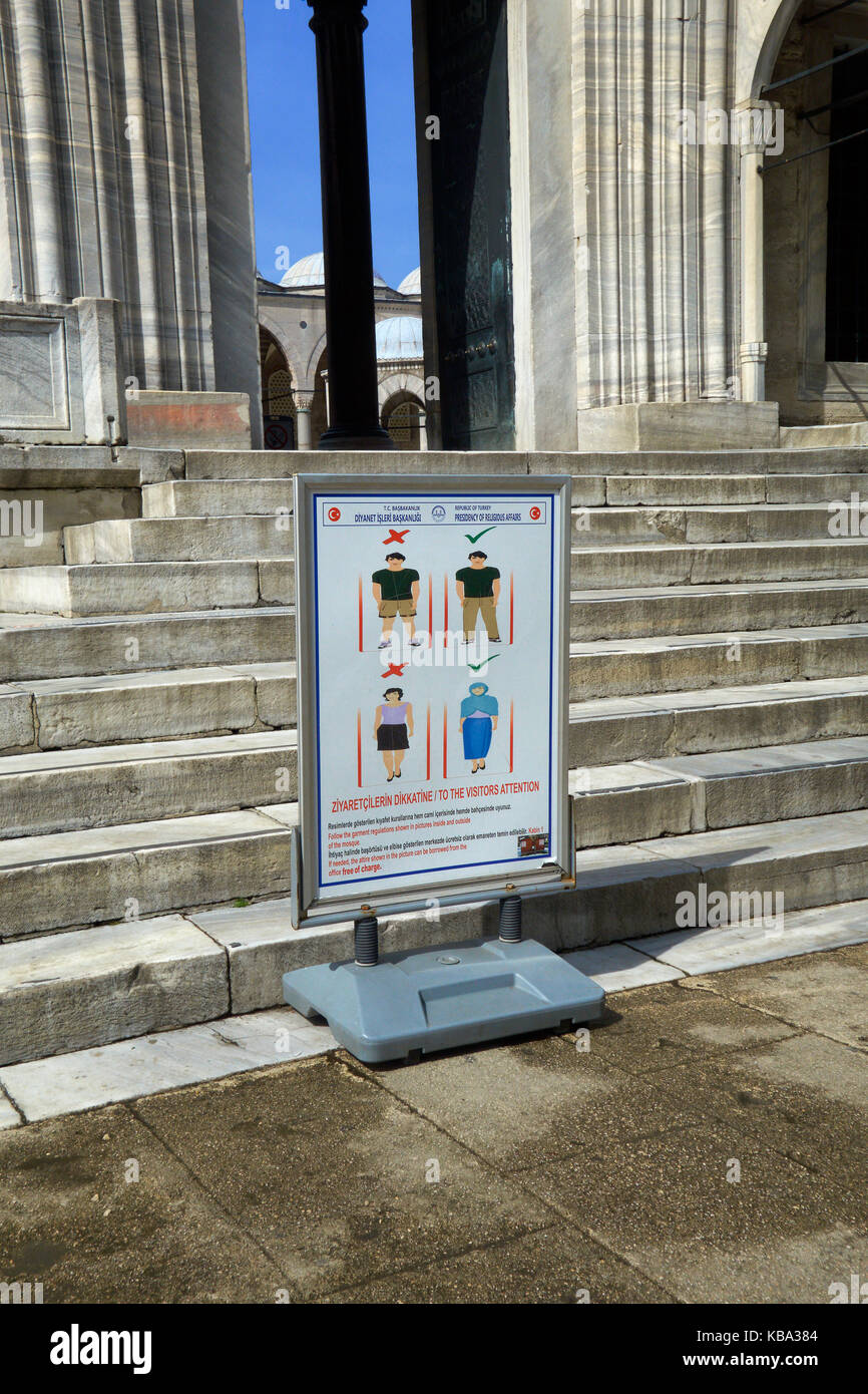 Informational sign with the behavioral norms for the entry of tourists to the Sultan Ahmed Mosque (Blue Mosque). - Stock Image