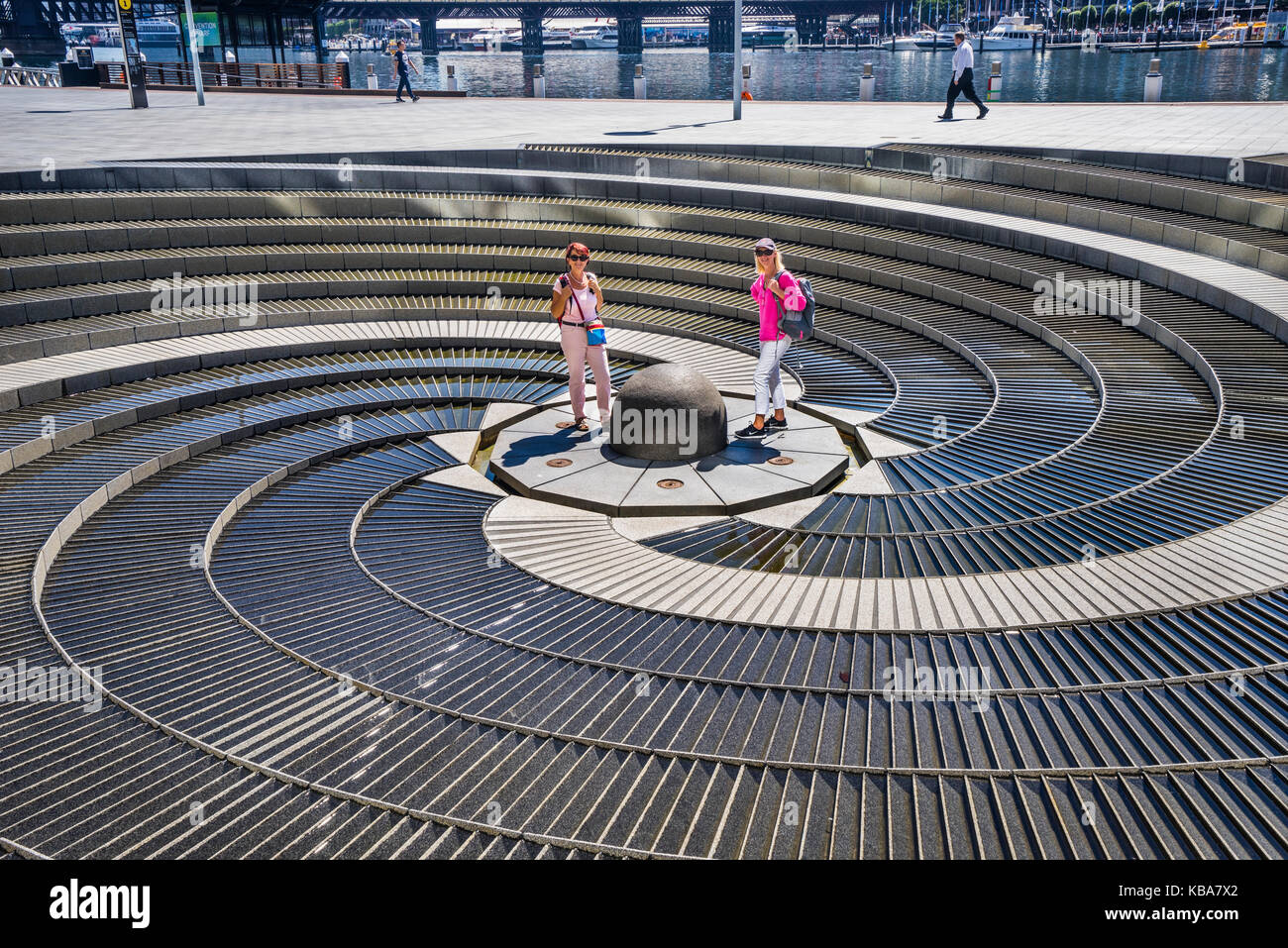 Australia, New South Wales, Sydney, Darling Harbour, Tidal Cascades Water Instalation - Stock Image