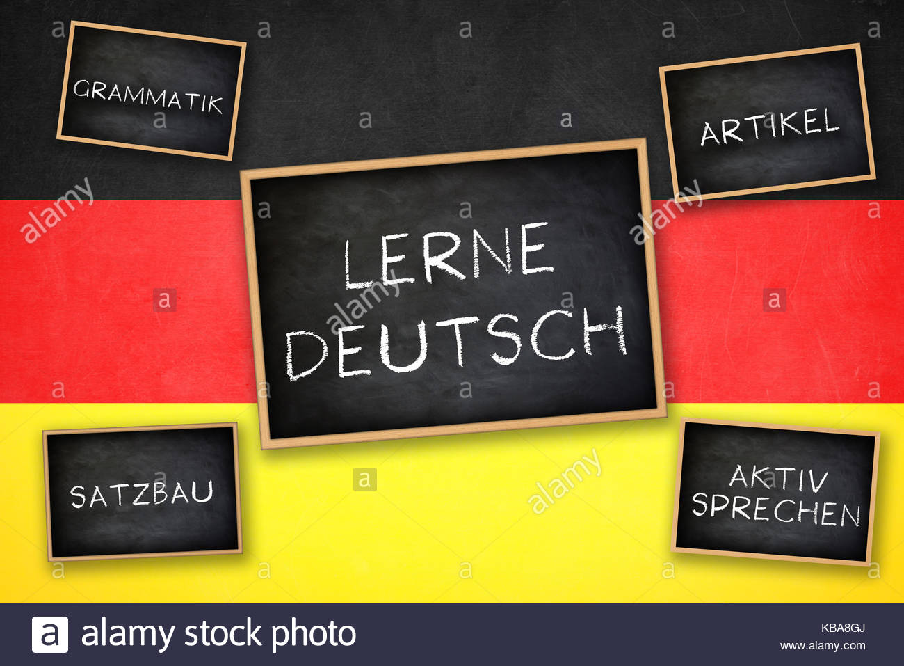Learn German - Grammar Verbs Nouns Speaking - Practice - Stock Image