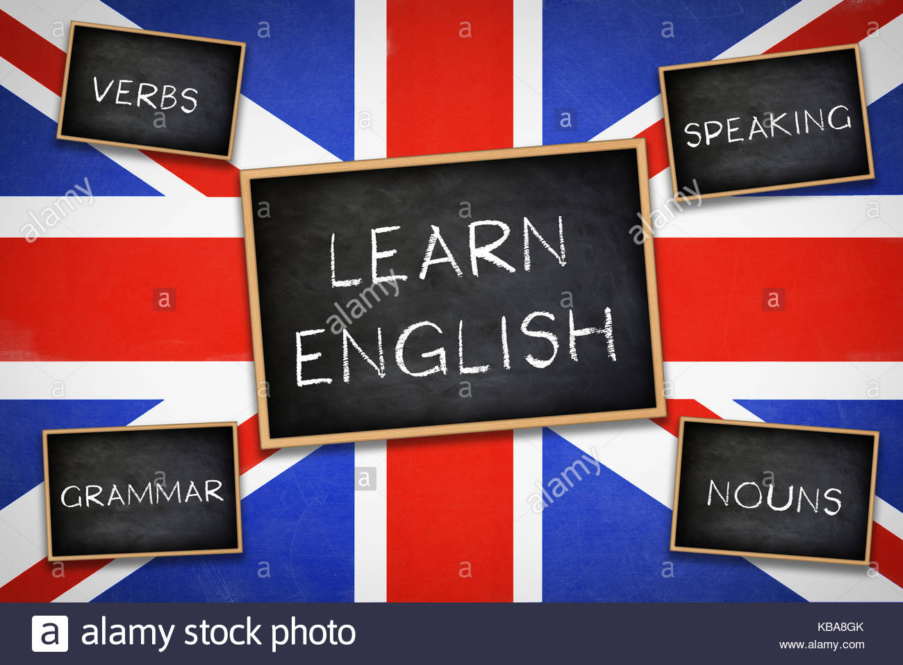 Learn English - Grammar Verbs Nouns Speaking - Practice - Stock Image