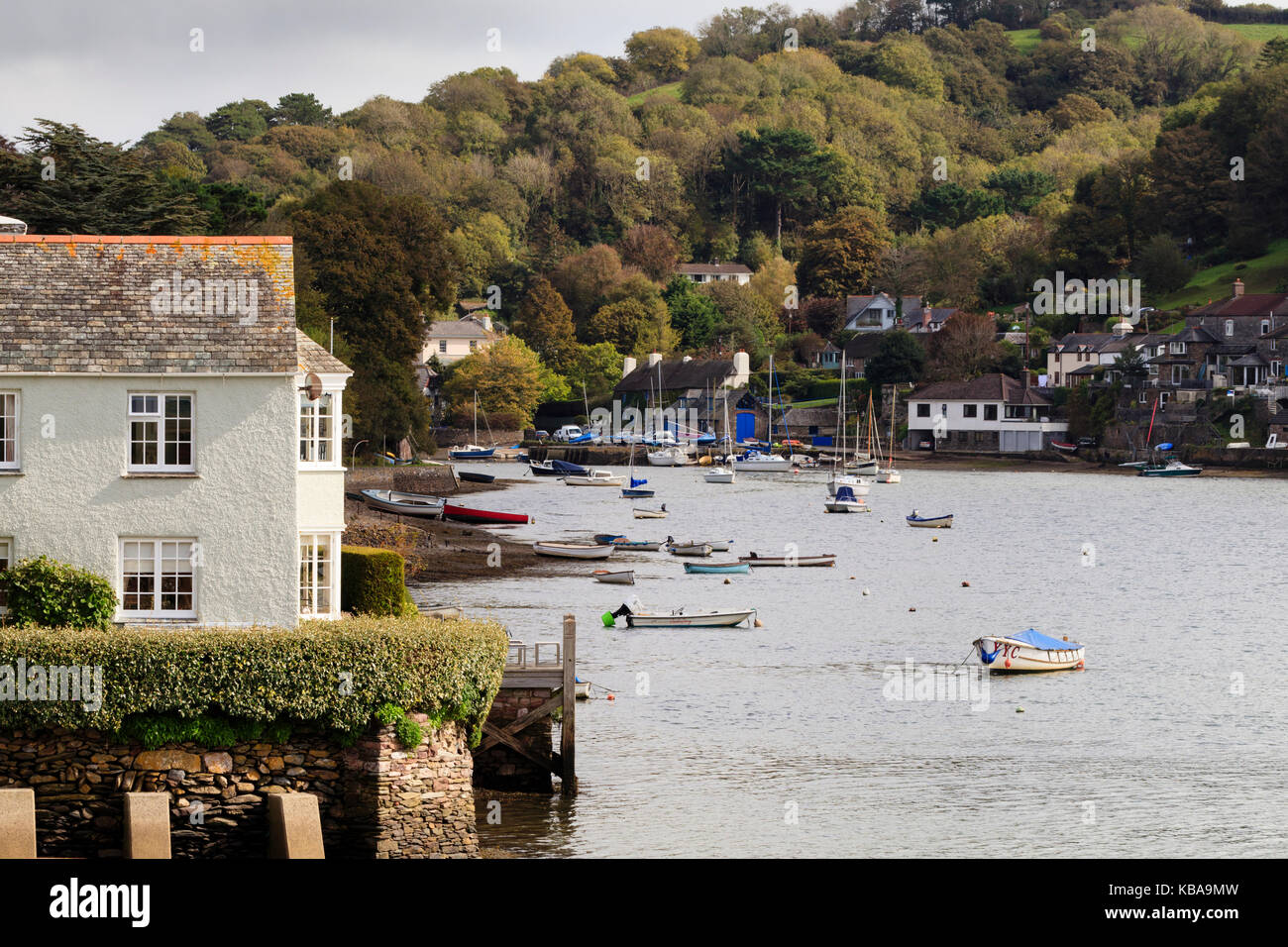 View along the tidal Newton Creek, seperating the villages of Newton Ferrers and Noss Mayo on the River Yealm, Devon, Stock Photo