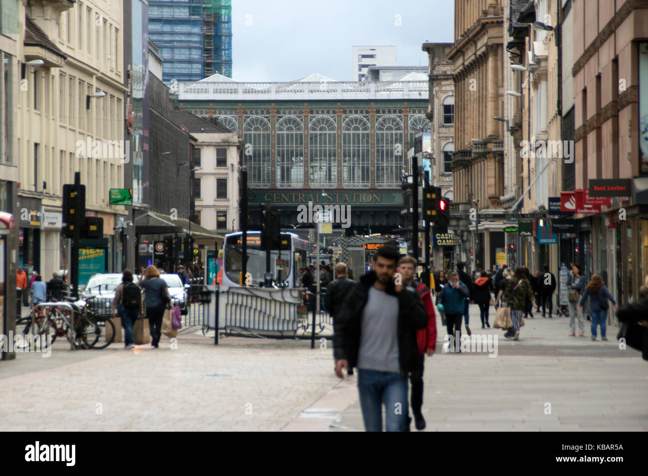 View along Argyle Street, towards Central Station and the Hielanman's Umbrella, Glasgow, Scotland Stock Photo