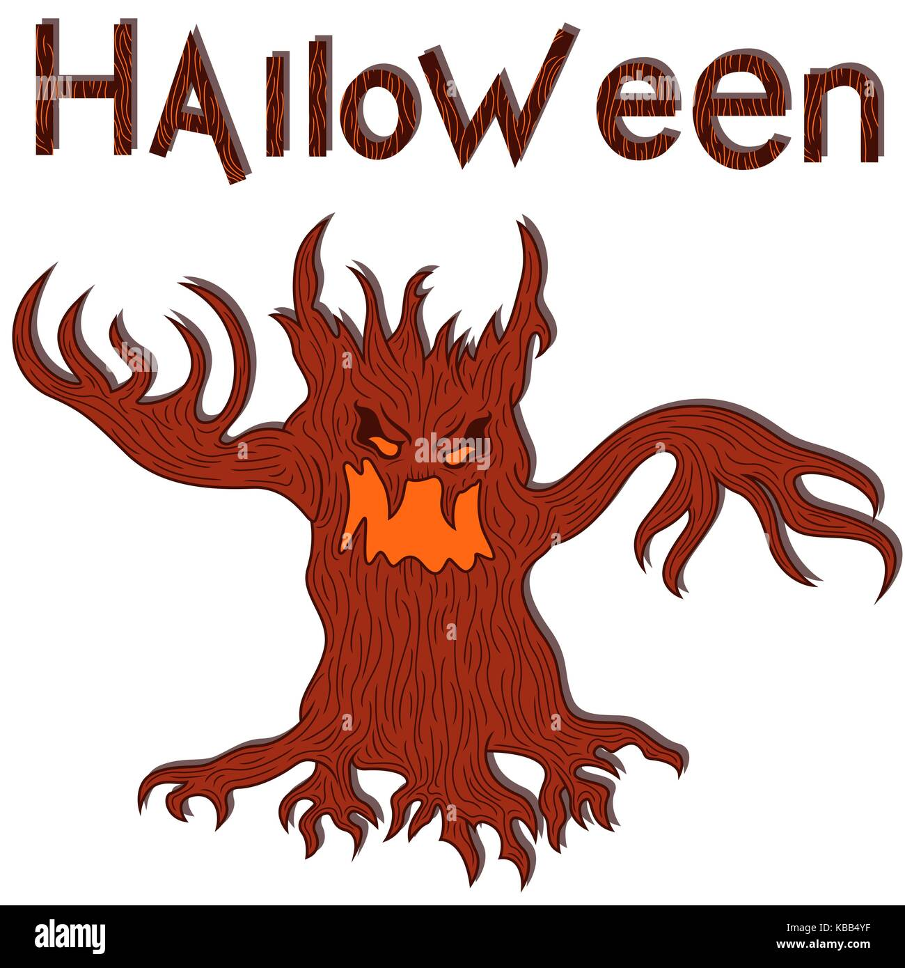 Halloween Scary Tree Silhouette Isolated Cut Out Stock Images