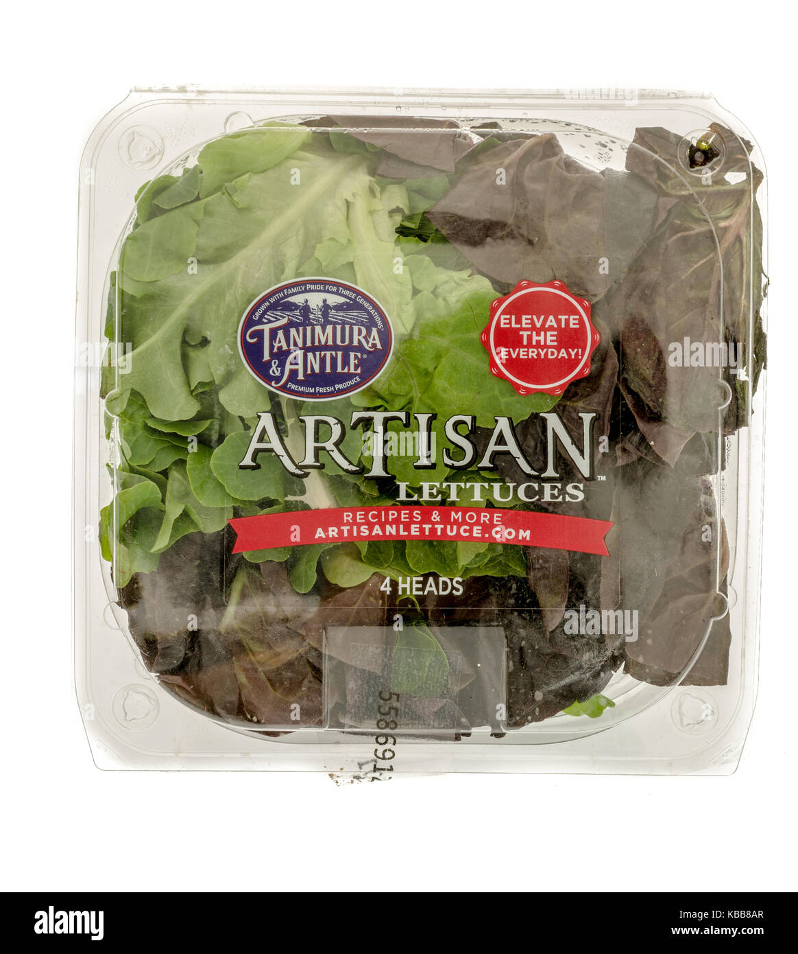 Winneconne, WI - 28 September 2017: A package of Tanimura and Antle artisan lettuces on an isolated background. - Stock Image