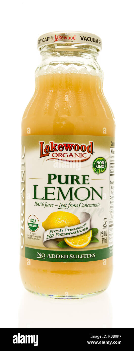Winneconne, WI - 28 September 2017: A bottle of Lakewood organic pure lemon drink on an isolated background. - Stock Image