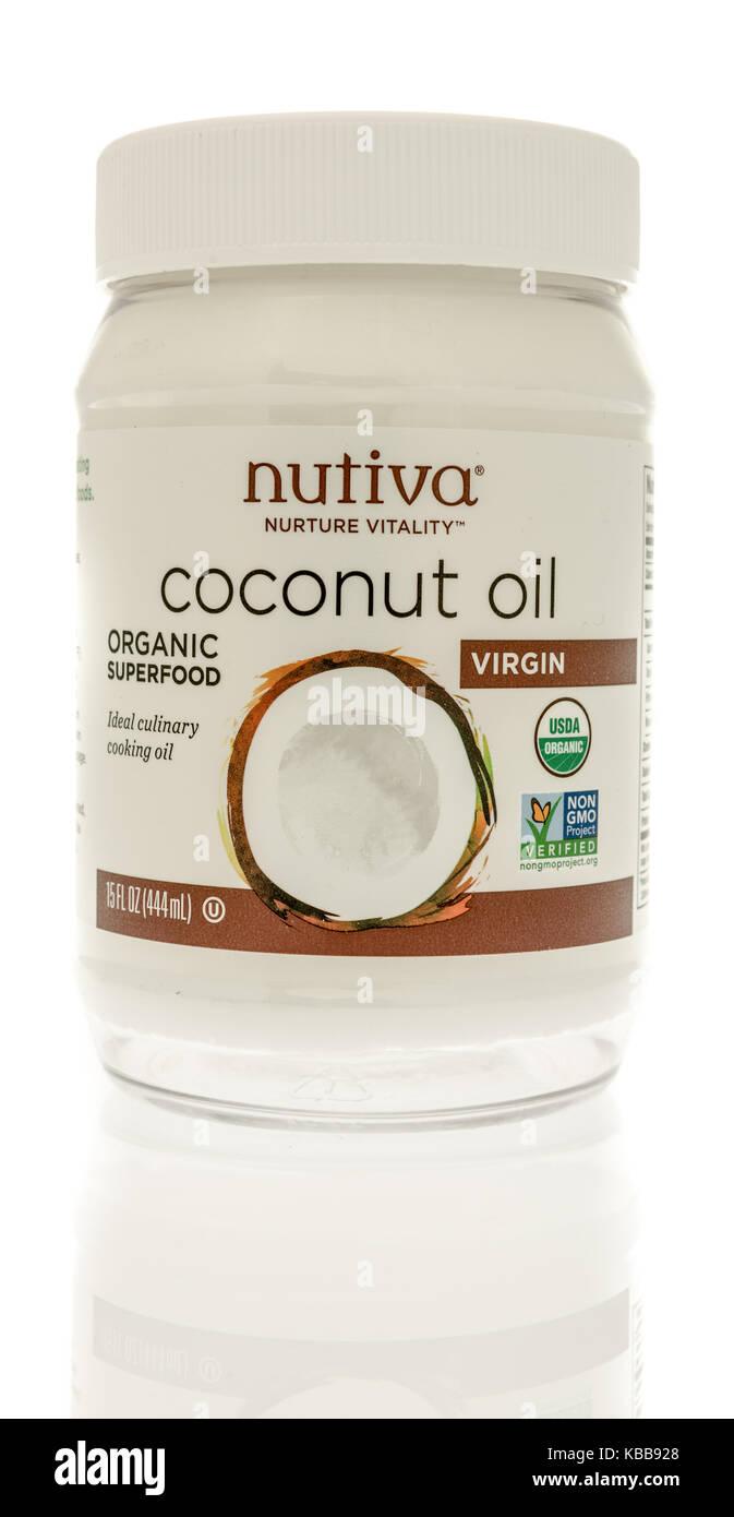 Winneconne, WI - 28 September 2017: A jar of Nutiva coconut