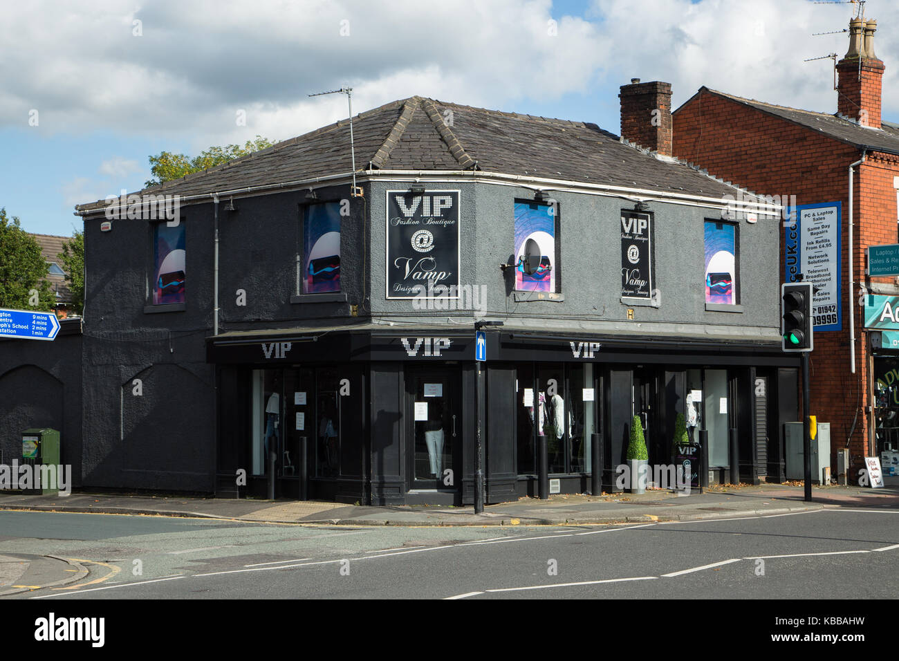 Vamp tanning shop In Leigh, England, UK - Stock Image