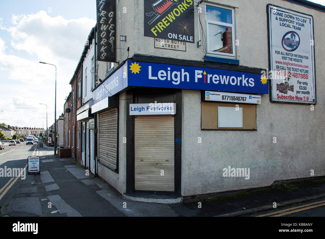 Leigh Fireworks shop In Leigh, England, UK - Stock Image