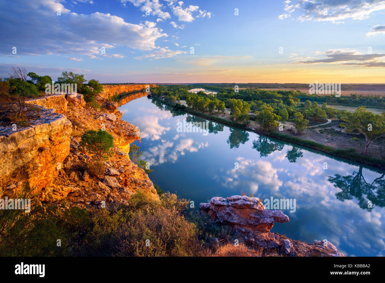 Murray River Sunset - Stock Image