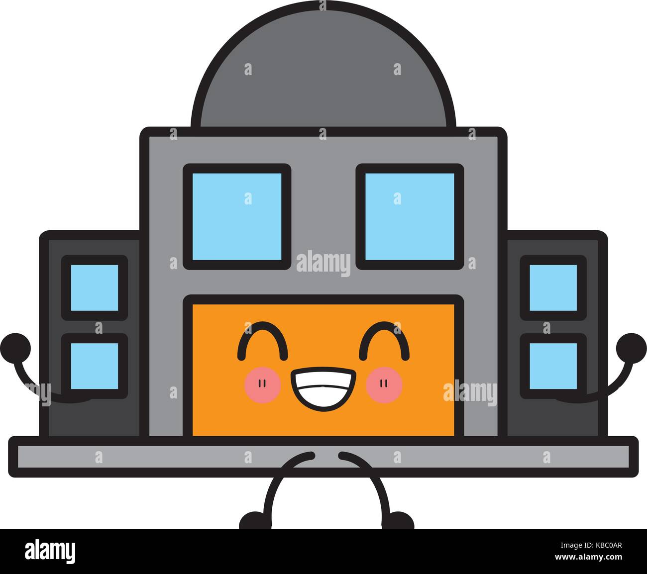 Observatory astronomy building cute kawaii cartoon - Stock Vector