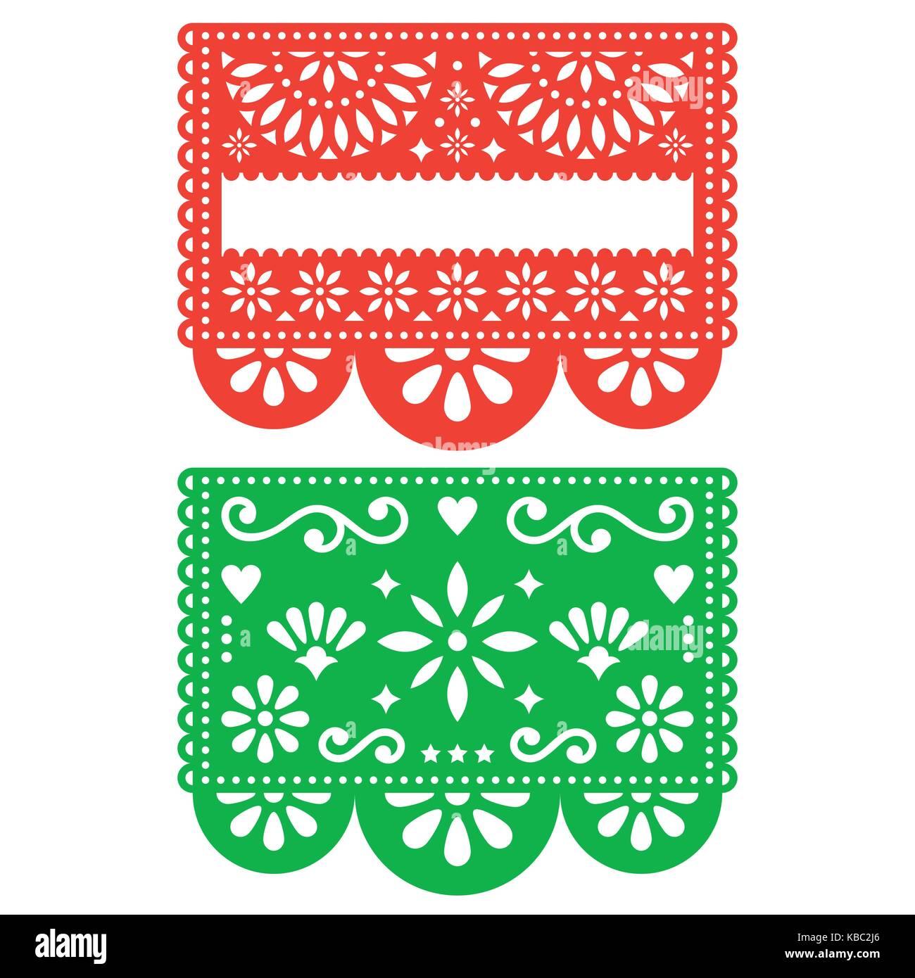 Mexican Papel Picado Vector Template Design Set Cutout Paper Stock