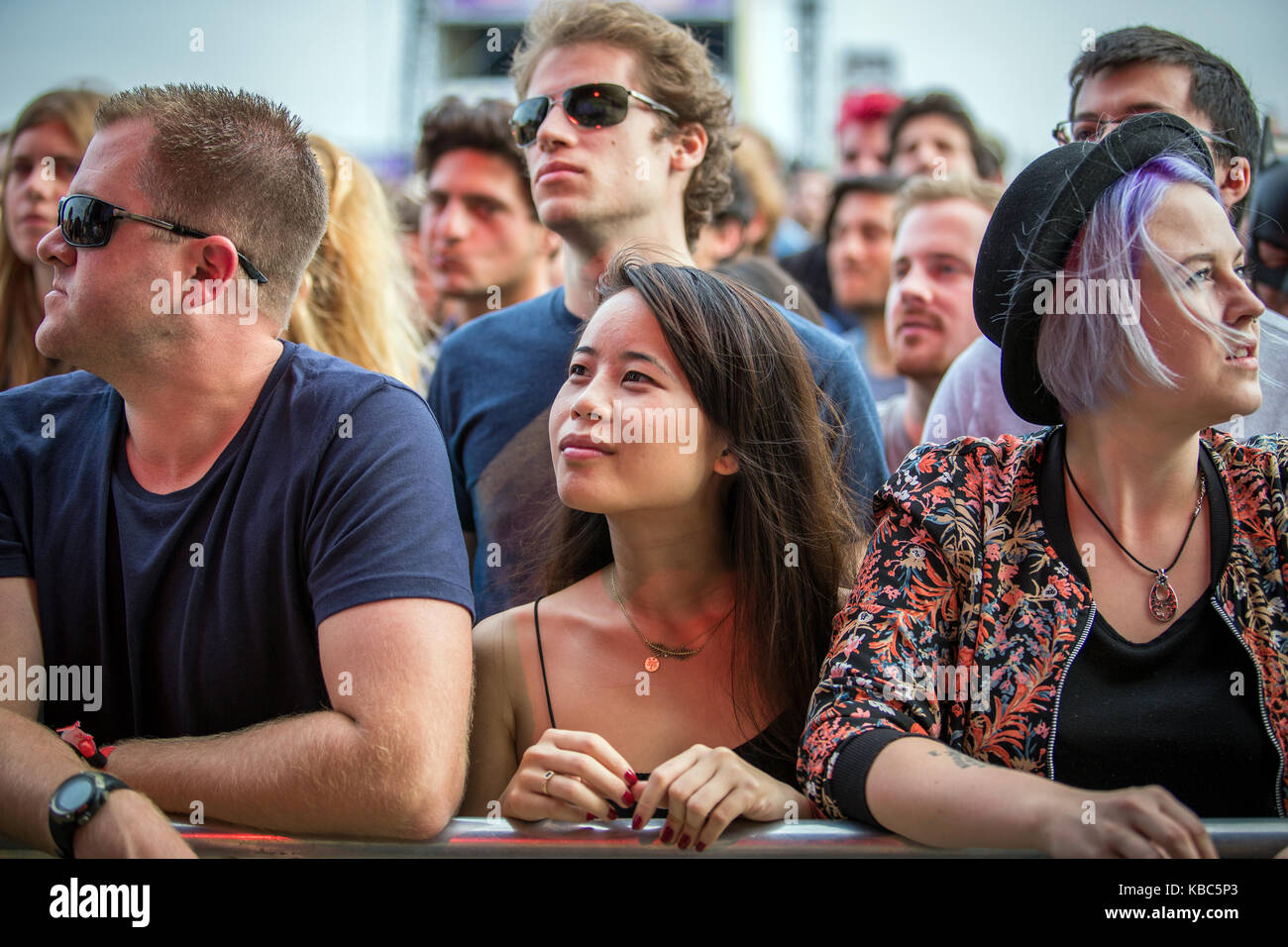 Festival goers and music fans attend a concert with the band My Morning Jacket who performs at the music festival - Stock Image
