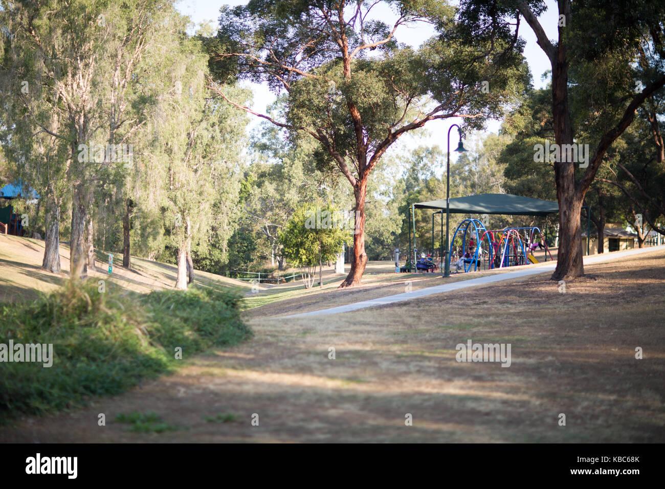 Playground and park in inner Brisbane Suburb - Stock Image