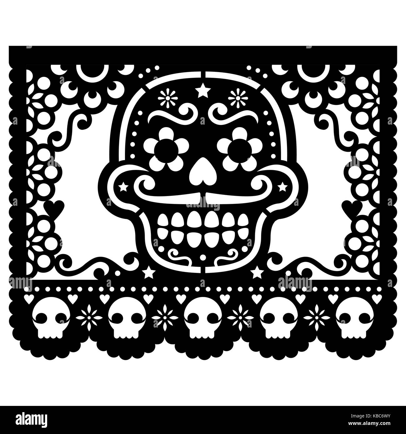 51d7e3c8a96 Mexican sugar skull vector paper decorations - Papel Picado black ...