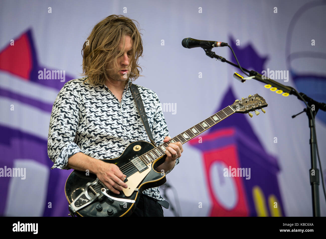 The American rock band My Morning Jacket performs a live concert at the music festival Lollapalooza 2015 in Berlin. Stock Photo