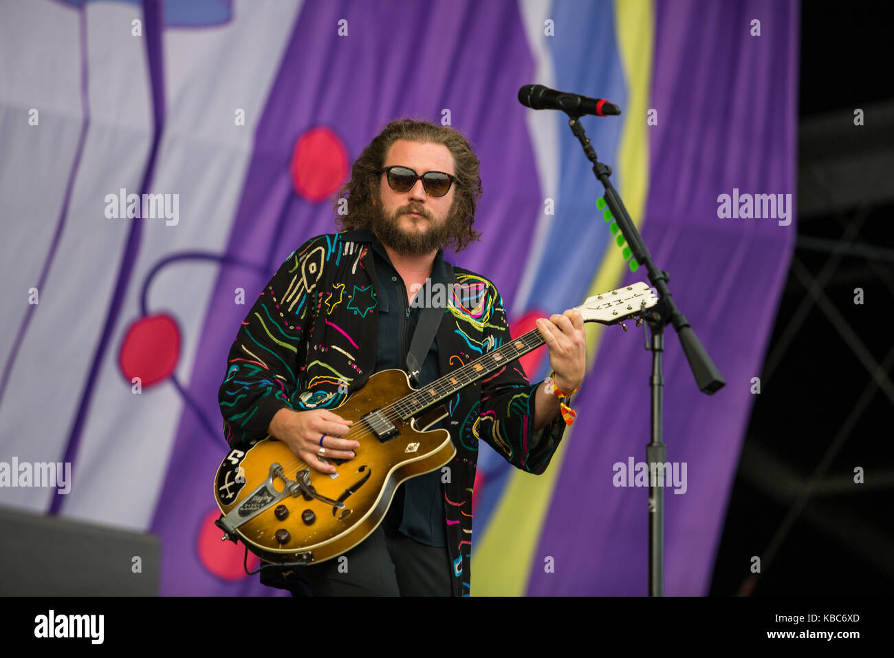 The American rock band My Morning Jacket performs a live concert at the music festival Lollapalooza 2015 in Berlin. - Stock Image