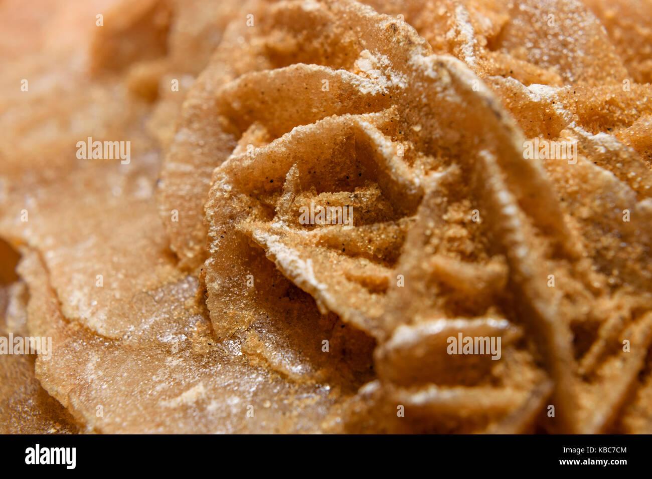 Extreme Close-Up Of Sand Selenite Rose Or Desert Rose From The Sahara Desert - Stock Image