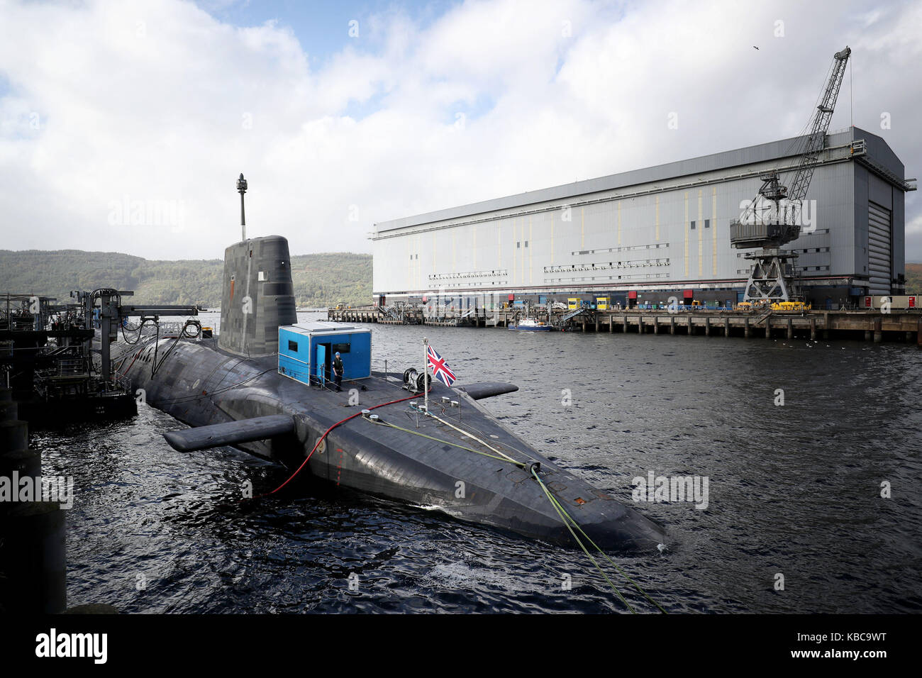 A general view of the Vanguard-class nuclear deterrent submarine HMS Vengeance at HM Naval Base Clyde, Faslane. Stock Photo