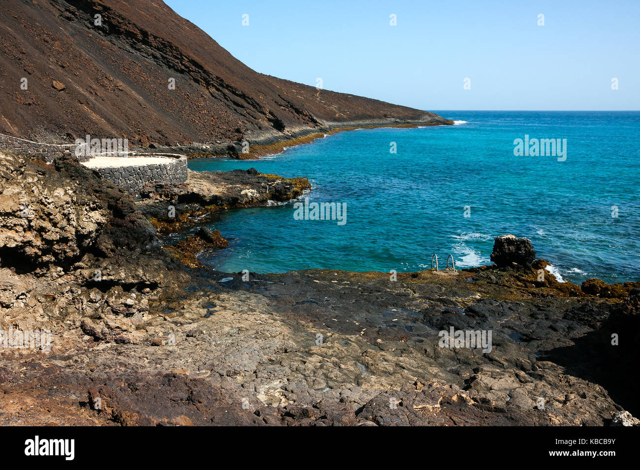 Calhau extinct crater, viewpoint at the basalt shore line, Sao Vicente Island in Cape Verde - Stock Image
