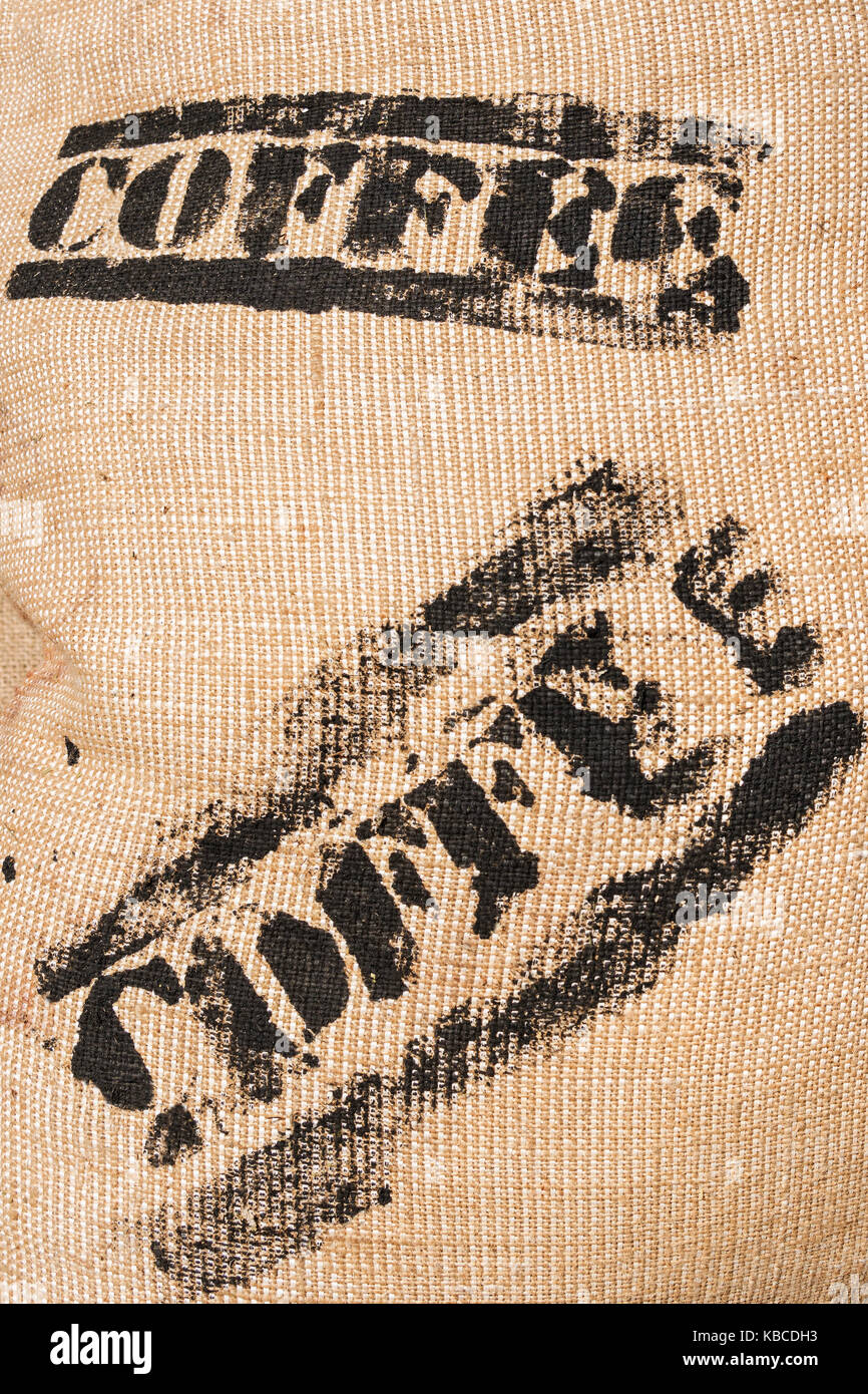 Bag with coffee inscription - Stock Image