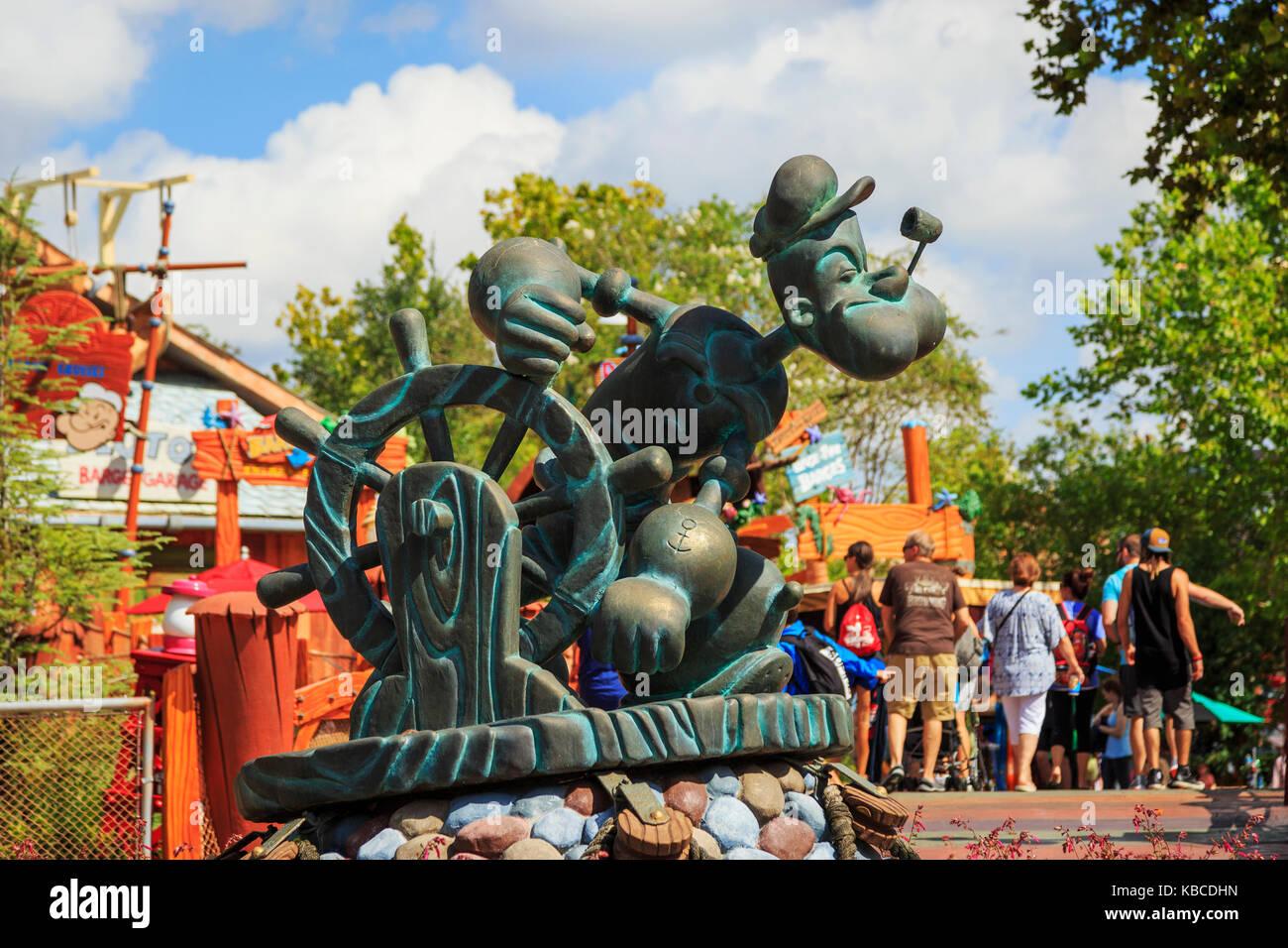 Statue of Popeye, cartoon character, Universal Studios, Orlando, Florida, America - Stock Image
