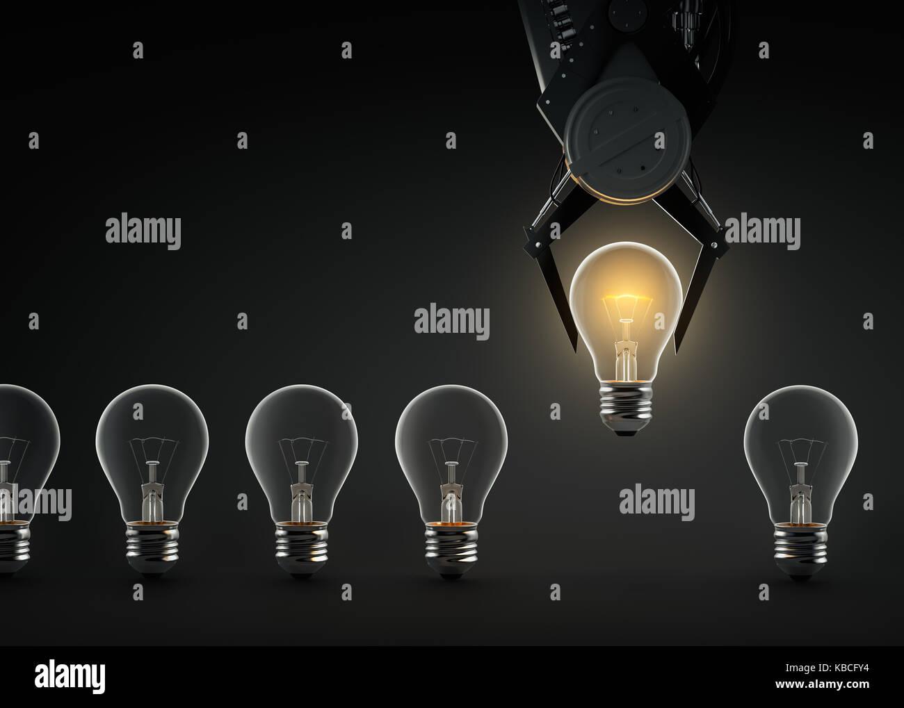 Claw machine lifting glowing light bulb - Stock Image