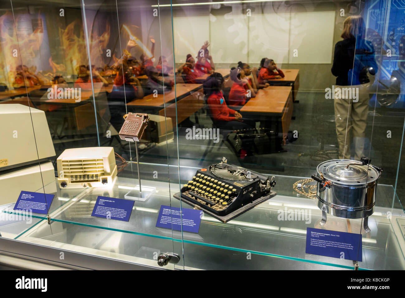Richmond Virginia Virginia Historical Society museum exhibition classroom Stone Bits to Computer Chips technology - Stock Image