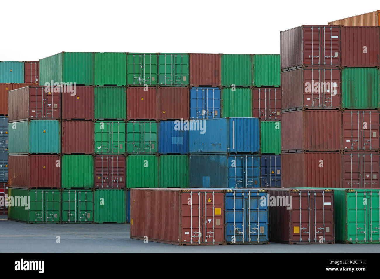Intermodal containers at cargo terminal port - Stock Image