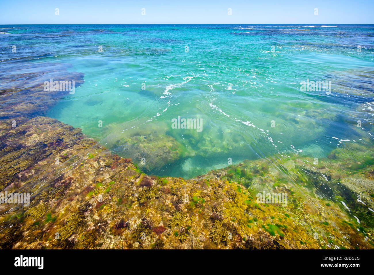 Penguin Island's clear and sheltered waters are ideal for swimming, boating, fishing and snorkelling. Shoalwater Stock Photo