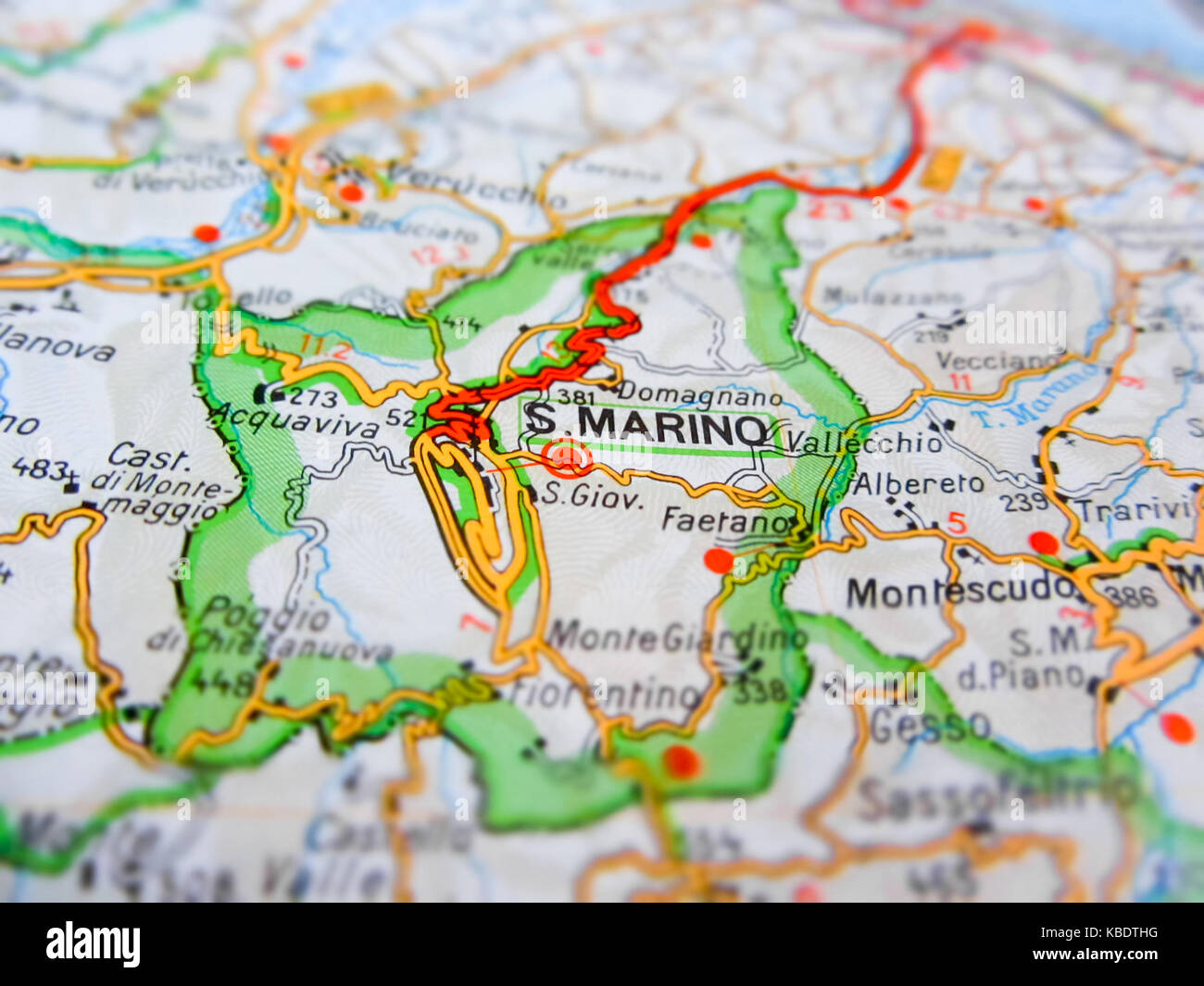 San Marino over a road map (ITALY Stock Photo: 161959212 - Alamy