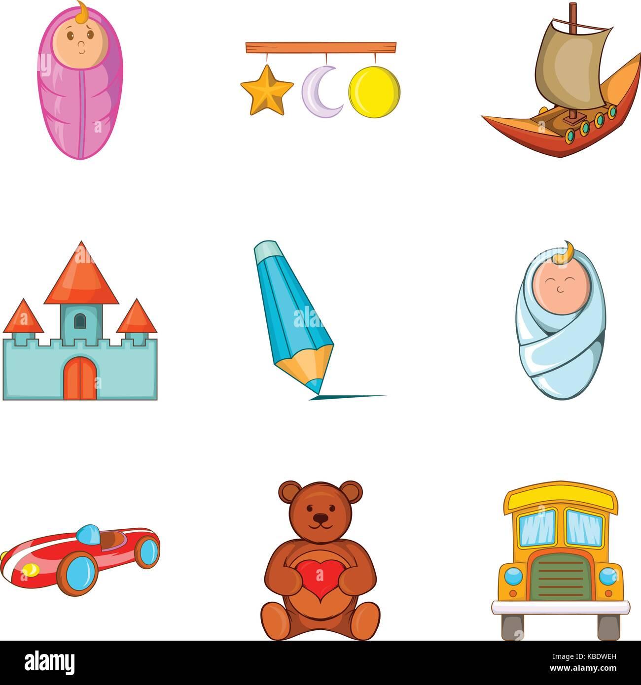 Felt-toys icons set, cartoon style - Stock Image