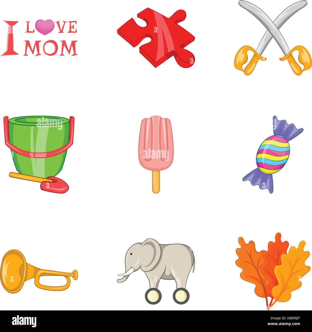 Mothers love icons set, cartoon style - Stock Image