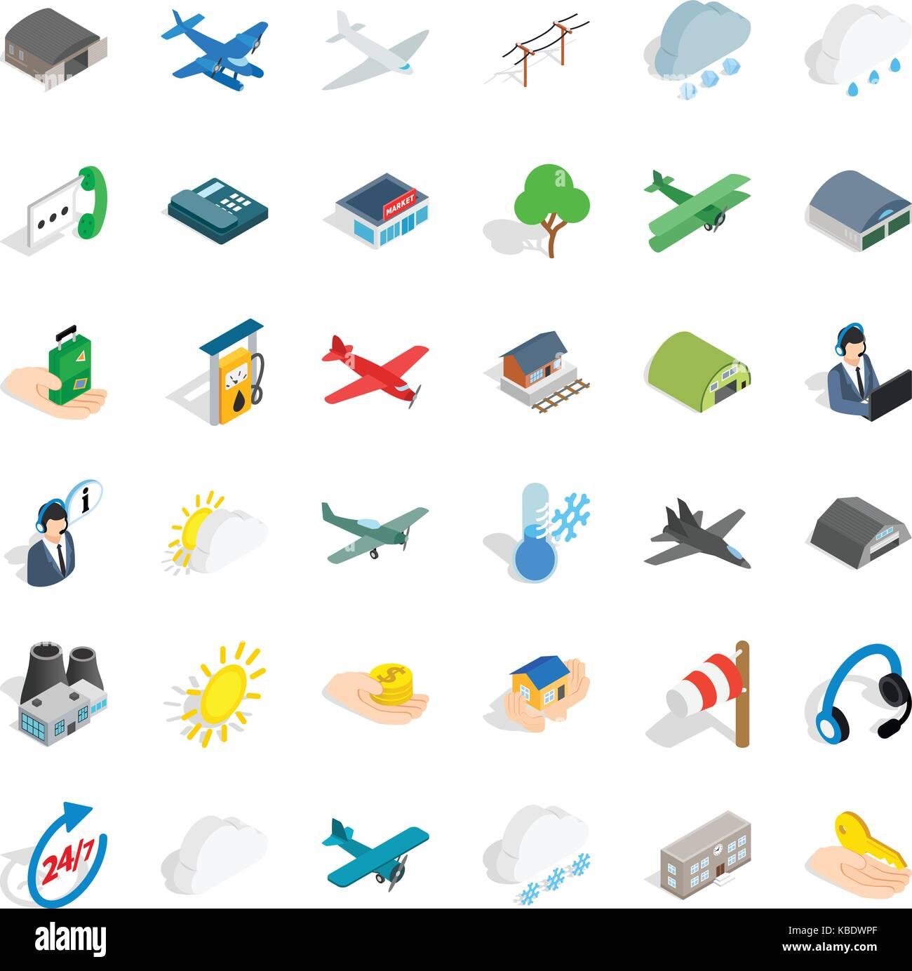 Wind icons set, isometric style Stock Vector Art