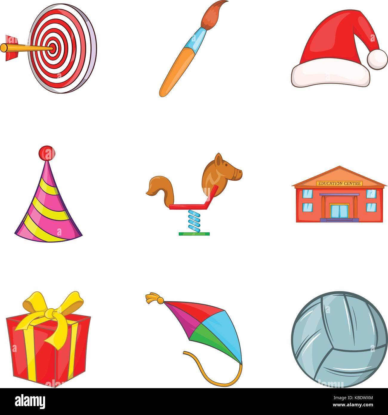 Toy store icons set, cartoon style - Stock Image