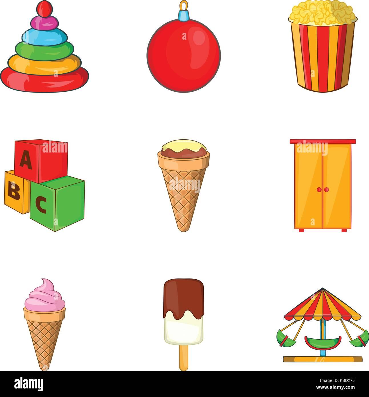 Spoiled child icons set, cartoon style - Stock Image